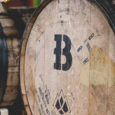 Beaver Island Brewing production aging barrels