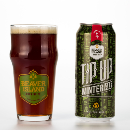 Beaver Island Brewing Tip Up with glass