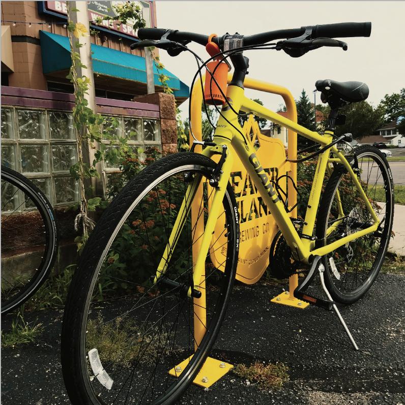 Beaver Island Brewing bike rack with bike