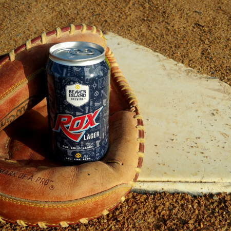 Beaver Island Brewing Rox Lager in baseball glove