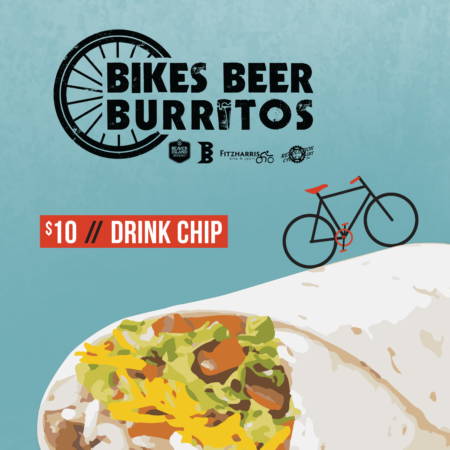 $10 Bikes Beer Burritos price // drink chip