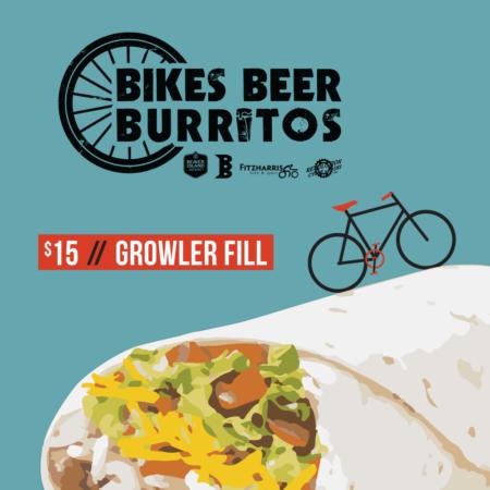 $15 Bikes Beer Burritos price // growler fill